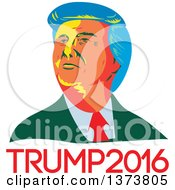 Clipart Of A Retro WPA Styled Portrait Of Republican Presidential Nominee Donald Trump Over Text Royalty Free Vector Illustration by patrimonio