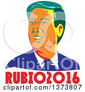 Clipart Of A Retro WPA Styled Portrait Of Republican Presidential Nominee Marco Rubio Over Text Royalty Free Vector Illustration