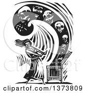 Clipart Of A Black And White Woodcut Scene Of Pandora Opening A Box Containing All Of The Evils Of The World Royalty Free Vector Illustration