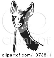 Clipart Of A Black And White Woodcut Xolo Mexican Hairless Dog From The Shoulders Up Royalty Free Vector Illustration by David Rey