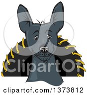 Clipart Of A Black Xolo Mexican Hairless Dog Royalty Free Vector Illustration by David Rey