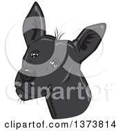 Clipart Of A Black Xolo Mexican Hairless Dog Head Royalty Free Vector Illustration by David Rey