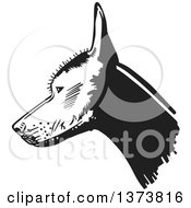 Clipart Of A Black And White Xolo Mexican Hairless Dog Head In Profile Royalty Free Vector Illustration