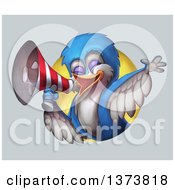 Clipart Of A Calling Bird Using A Megaphone Emerging From A Circle On A Gradient Background Royalty Free Illustration by Tonis Pan