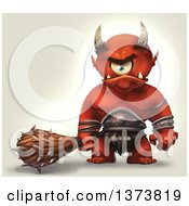 Clipart Of A Mad Cyclops Monster Holding A Club On A Gradient Background Royalty Free Illustration by Tonis Pan