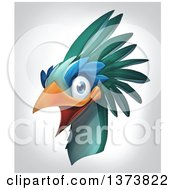 Happy Laughing Bird Head On A Gradient Background