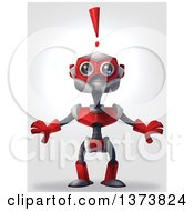 Clipart Of A Surprised Red Robot With An Exclamation Point On A Gradient Background Royalty Free Illustration