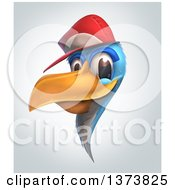 Blue Bird Wearing A Baseball Cap On A Gradient Background