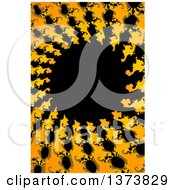 Black Yellow And Orange Abstract Fractal Spiral Background