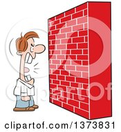 Clipart Of A Mad White Man Screaming At A Brick Wall Royalty Free Vector Illustration