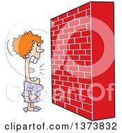 Clipart Of A Mad White Woman Screaming At A Brick Wall Royalty Free Vector Illustration