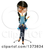 Clipart Of A Happy Black Female Office Secretary Sitting In A Chair And Pointing Royalty Free Vector Illustration by Melisende Vector