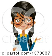Happy Black Female Office Secretary Wearing Glasses Presenting And Holding A Piece Of Paper