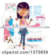 Clipart Of A Beautiful Black Fashion Designer Making A Dress In Her Office Royalty Free Vector Illustration