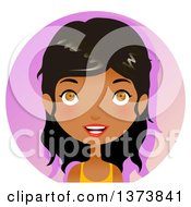 Clipart Of A Hazel Eyed Black Girl Smiling Over A Gradient Circle Royalty Free Vector Illustration by Melisende Vector