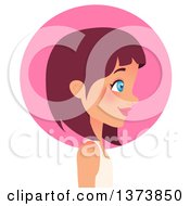 Clipart Of A Beautiful Blue Eyed Red Haired White Girl With Short Hair Facing Right In Profile Over A Pink Circle Royalty Free Vector Illustration by Melisende Vector