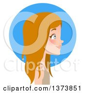 Beautiful Blue Eyed Blond White Girl With Long Hair Facing Right In Profile Over A Blue Circle