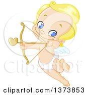 Clipart Of A Grinning Blue Eyed Blond Baby Cupid Flying And Aiming An Arrow Royalty Free Vector Illustration