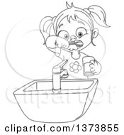 Clipart Of A Black And White Lineart Girl Brushing Her Teeth Royalty Free Vector Illustration by yayayoyo
