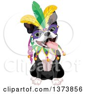 Cute Mardi Gras Boston Terrier Dog Wearing A Mask