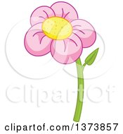 Clipart Of A Pink Daisy Flower Royalty Free Vector Illustration by Pushkin