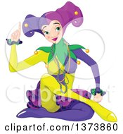 Clipart Of A Mardi Gras Jester Woman Sitting And Holding Up A Finger Royalty Free Vector Illustration by Pushkin
