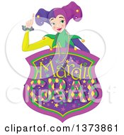 Clipart Of A Mardi Gras Jester Woman Holding Up A Finger Over A Shield Royalty Free Vector Illustration by Pushkin
