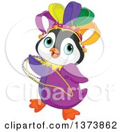 Clipart Of A Cute Mardi Gras Penguin Dancing With Beads Royalty Free Vector Illustration