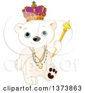 Clipart Of A Cute Mardi Gras Polar Bear Cub King Walking With Beads And A Sceptre Royalty Free Vector Illustration by Pushkin