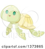 Clipart Of A Cute Baby Sea Turtle With Big Green Eyes Royalty Free Vector Illustration by Pushkin