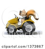 Clipart Of A 3d Squirrel Operating A Tractor On A White Background Royalty Free Illustration