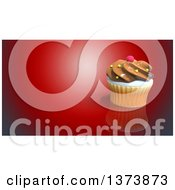 Clipart Of A 3d Cupcake On A Red Background With Text Space Royalty Free Illustration by Julos