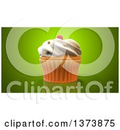 Clipart Of A 3d Cupcake On A Green Background Royalty Free Illustration by Julos
