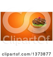 Clipart Of A 3d Cupcake On An Orange Background With Text Space Royalty Free Illustration by Julos