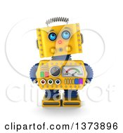 Clipart Of A 3d Surprised Yellow Retro Robot Looking Innocent On A White Background Royalty Free Illustration