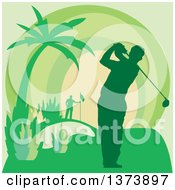 Clipart of a Green Silhouetted Male Golfer Swining on a Course, with a Palm Tree and Sunset - Royalty Free Vector Illustration by Andy Nortnik #COLLC1373897-0031