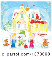 Clipart Of Blond Caucasian Children Making A Snowman In The Front Yard Of A Home On A Winter Day Royalty Free Vector Illustration