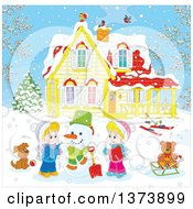 Clipart Of Blond White Children Making A Snowman In The Front Yard Of A Home On A Winter Day Royalty Free Vector Illustration