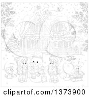 Clipart Of Black And White Children Making A Snowman In The Front Yard Of A Home On A Winter Day Royalty Free Vector Illustration