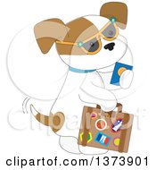 Cute Traveling Puppy Dog Wearing Sunglasses Holding A Passport And Carrying A Suitcase