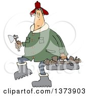 Cartoon Clipart Of A Chubby White Man In A Winter Coat And Hat Walking And Carrying Firewood And An Axe Royalty Free Vector Illustration