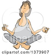 Cartoon Clipart Of A Relaxed Chubby White Woman Meditating Royalty Free Vector Illustration