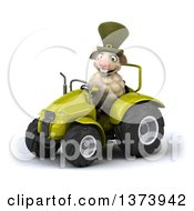 Clipart Of A 3d Sheep Operating A Tractor On A White Background Royalty Free Illustration by Julos