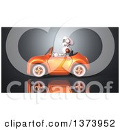 Clipart Of A 3d Robot Driving A Convertible Car On Gray Royalty Free Illustration