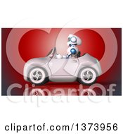 Clipart Of A 3d Robot Driving A Convertible Car On Red Royalty Free Illustration