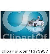 Clipart Of A 3d Robot Driving A Convertible Car On Blue Royalty Free Illustration