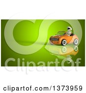 Clipart Of A 3d Robot Driving A Convertible Car On Green Royalty Free Illustration