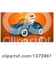 Clipart Of A 3d Robot Driving A Convertible Car On Orange Royalty Free Illustration