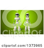 Clipart Of A 3d Robot Couple On Green Royalty Free Illustration by Julos