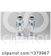 Clipart Of A 3d Robot Couple On Gray Royalty Free Illustration by Julos